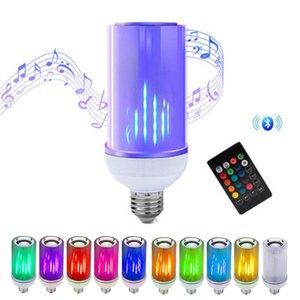 بلوتوث الموسيقى LED الذكية لمبة ضوء E27 LED يعتم مصباح بلوتوث APP رئيس RGB LED لهب تأثير الذكية مصباح 24 مفاتيح التحكم عن بعد
