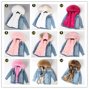 Factory wholesales Women's Mid-length fur parkas Ripped denim jeans Jacket hooded with raccoon fur collar and rabbit fur liner