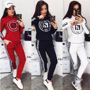 2020 campeão das mulheres agasalho Set Sportswear manga comprida T-shirt Top Calças + duas peças terno de moda das mulheres outfits roupas Correndo vestir