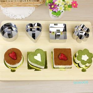 Baking Stampi Mini mousse di cioccolato muffa di figura del quadrato dell'acciaio inossidabile rotonda Cuore Torta della mousse mousse modella anello Utensili da cucina WX9-1819