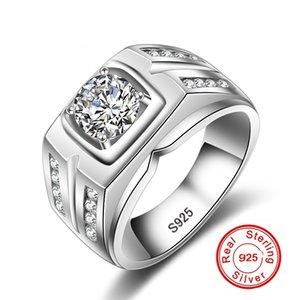 YHAMNI Hot Sale Brand Fashion Men 925 Sliver Ring Engagement Ring Sliver Plated CZ Diamond Popular Men Jewelry MZJ004