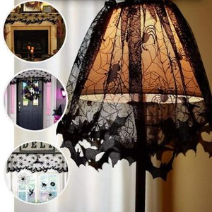 Fita do laço Lamp Halloween Sombra Tampa Black Spider Web Lampshades Lareira Tampa Widonw decaration Party Decor Interior Suprimentos DHF734