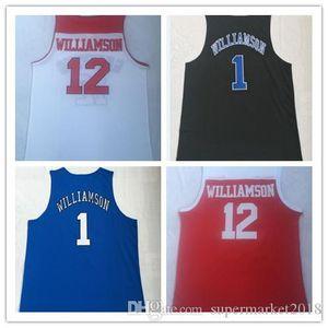 New Spartan Day School # 12 NCAA Duke University # 1 bestickte Basketball Jersey Universität einheitliche T-Shirt Jerseys Zion Williamson