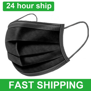 Maschere LIBERA DI USPS 8 ~ 10Days nero a 3 strati e getta maschera di protezione della bocca fondere Soffiato maschere panno monouso Anti-Polvere earloops Mask