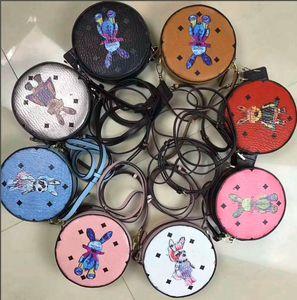 versão coreana de alta qualidade 3D imprimir bolsa de ombro coelho carteira das mulheres redondas, saco do mensageiro bonito rodada para meninas