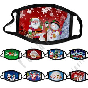 Masque Visage de Noël pour adultes Enfants 2020 Mode Masque Imprimer conception anti-poussière lavable coton masque facial enfants Cartoon Visage Livraison gratuite