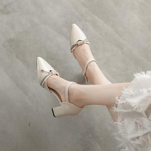 Sapatos pontudos para Mulheres para Sandals Summe do partido com Heel Sandals Fashion Style Bloco coreano senhoras do salto do sapato Escritório Bombas