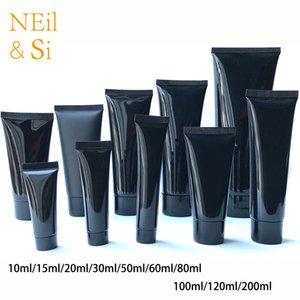 10ml 30g 50ml 60ml 80g 100ml 200ml de plástico preto macio Garrafa Cosmetic Facial Cleanser Creme Squeeze tubo vazio Loção Containers T200819