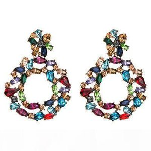 New Vintage Hanging Double Flower Dangling Drop Earrings Studded With Full Colorful Crystals Fine Jewelry Accessories For Women