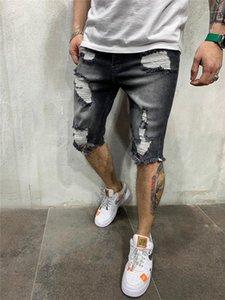 Diseñador recta Cintura con cremallera pantalones cortos para hombre de mediana longitud rasgado pantalones vaqueros grises rodilla Solid Jeans de color Pantalones cortos