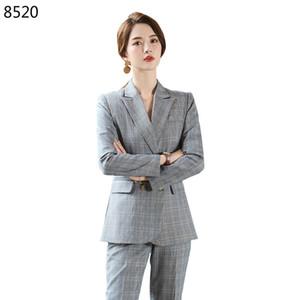 New Autumn Winter Vintage Business Professional Women's Suit Temperament Double-breasted Plaid Slim Pants 2 Two Pieces Suits