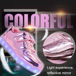 Дети Зеркало LED Светящиеся обувь Повседневная обувь Красочные огни Мальчики Девочки Спорт Охладить зажженную Street Dance