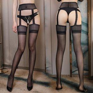 meias sexy 19GhO meias Jumu sexy roupas íntimas femininas cinta-liga perspectiva oca-out de uma peça de malha de seda meias suspensão h9mDB Underwea