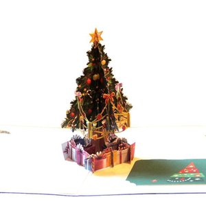 Creative Hollow Christmas Tree Greeting Cards Creative Paper Handmade Card for Gift Festive Party Supplies Christmas
