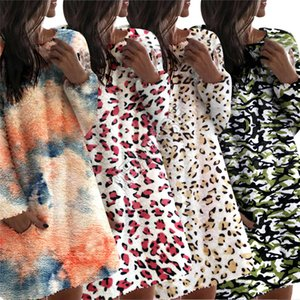 Frauen Sherpa VliesHoodie Winter warm Plüsch-Kleid Pullover Tie-Dye Leopard Camouflage Overcoat Outwear Pyjamas Mutterschaft Tops YYB1873