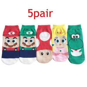 5Pair Children Super Mario Cartoon Sock Boys Funny Mario Socks kids Princess Socks Winter Soft Children Cartoon Boat