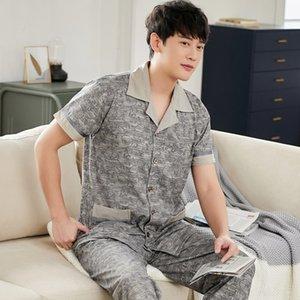 d9NkO rqOpb Yaz erkekler 100 Air pijama pantolon pijama% pamuk şartlandırma kısa kollu pantolon Ekose klimalı oda Büyük boy