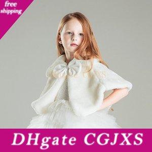 Brasão meninas Inverno Jacket Princesa bowknot meninas Plush Faux Fur Cape Manto casamento Shawl Cabo Para Meninas Tippet Crianças