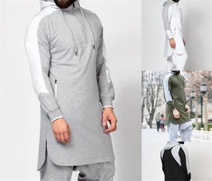 La ropa más el tamaño de diseñador para hombre sudaderas con capucha otoño de Split remiendo informal larga para hombre camisetas de la manera masculino