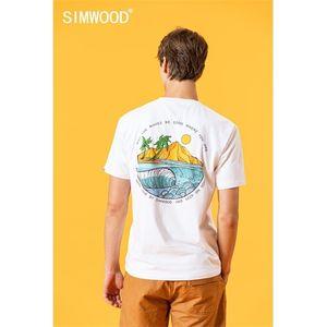 SIMWOOD 2020 summer new t-shirt men island print holiday tops fashion 100% cotton causal tshirt thin breathable plus size tees 0921