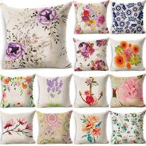 1 Stück bunte Blumenmuster Baumwolle Leinen Dekokissen Kissenbezug des Autosofabett Dekorative Kissen Funda Cojin 40031