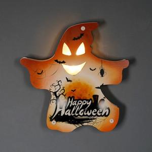 NUEVO Ambiente de Halloween Calabaza decorativa Luz Castillo Bat Cráneo del fantasma de la pared decorativos Adornos Feliz Halloween decoración de la barra DHA1097