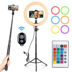 10 inç LED RGB Halka Işık Lambader Canlı Studio Video Makyaj Dolgu ışığı Selfie'nin ile Bluetooth Tripod Telefon Tutucu USB Tak