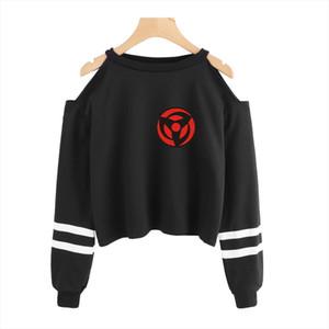 Naruto Fashion Cropped Sweatshirt Women Off Shoulder Long Sleeve Sweatshirts 2020 Hot Sale Casual Harajuku Streetwear Clothes