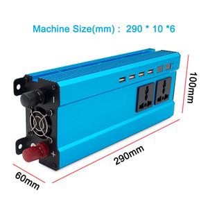 Freeshipping 6000Watt 4USB Portable Car Power Inverter DC 12V 24V to AC 220V 230V 240V Charger Adapter Converter Voltmeter Universal Socket