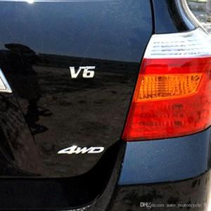 V6 엔진 자동차 스티커 AAA319 용 금속 크롬 3D 변위 엠블럼 배지 자동 모터 스티커 데칼