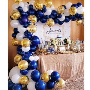 100 Pack Blue Garland Kit, Navy and Gold Confetti White Balloons Arch for Party Wedding Birthday DIY Decoration