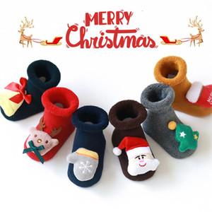 2020 Christmas Newborn Baby Anti Slip Socks For Baby Girls Boys Socks Cartoon Infant Clothes Accessories Christmas Terry