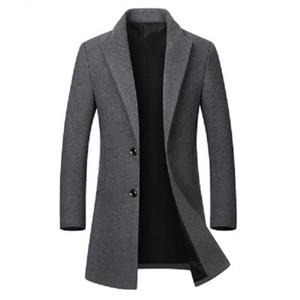 Winter Wool Trench Coat Men 2020 Slim Fit Men's Long Trench Coats Single Breasted Mens Windbreaker Pea Coat Jacket Abrigo Hombre