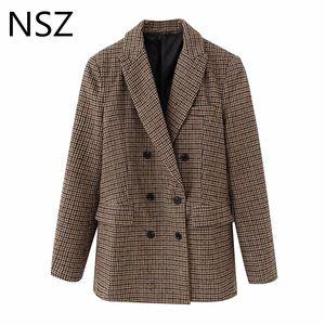 Trajes para mujer Blazers NSZ Mujeres Houndstooth Tweed Blazer Wool Blend Office Ladies Formal Trabajo Traje Chaqueta Abrigo a cuadros Doble Breasted Check