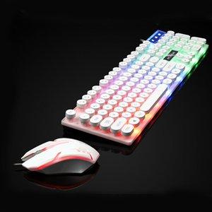 الميكانيكية يشعر فاسق لوحة المفاتيح USB السلكية والماوس تعيين 3-لون وحة مفاتيح بإضاءة خلفية الألعاب ومجموعة الماوس لسطح المكتب كمبيوتر محمول