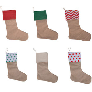 45*30CM 7 Colors High Quality 2020 Canvas Christmas Stocking Gift Bags Xmas Kids Large Xmas Plain Burlap Decorative New Year Socks Package