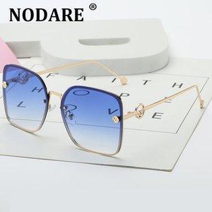 Gafas de sol cuadradas Nodare Nodare Fashion Vintage Metal Frame Designer Sombras Sunglasses Rimless Mujeres Mujeres Gafas Rotvs