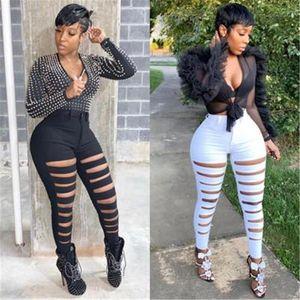 Female High Waist Zipper White Sweatpants Ladies Ripped Trousers Fashion Trend Leggings Fitness Sports Trouser Athletic Pants Designer