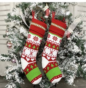Christmas Gift Stocking Red and White Knitted Christmas Socks Kids Gift Candy Storage Stocking Bags Xmas Decor GWA821