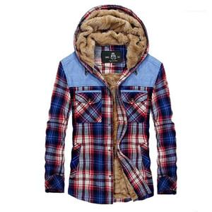 Polaire à manches longues épais manteau à capuchon des nouveaux hommes d'hiver Chemise 20FW Mens Designer Casual Veste à carreaux