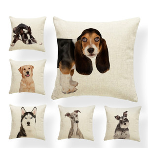 Cute Pet Dog Pillow Case Basset Hound Boston Terrier Chinese Crested Dog Sofa Decorative Cushion Cover Polyester Rest Pillow