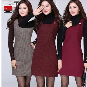 여성은 높은 품질의 패션 대형 멀티 포켓 가을 겨울 드레스 여성 01 슬림 민소매 모직 조끼 드레스를 프라이머 드레스