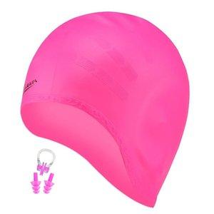 Lange Haare Schwimmen Männer Frauen Ohr-Stecker-Nasenbügel arge Big Silikon wasserdichte Mädchen Swim Pool Hat Professional Diving Caps