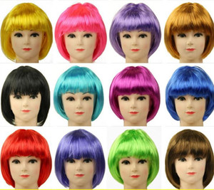 Short Straight Ombre Brown Blonde Bob Wig With Bangs Synthetic Hair Wig for Women Cosplay Lolita Heat Resistant Fiber