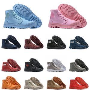 Nueva PALLADIUM Zapatos Pallabrouse botas de media caña para hombre Hombres Mujeres Amarillo Botas de lona zapatillas de deporte al aire libre tácticos tamaño instructor para hombre 36-45