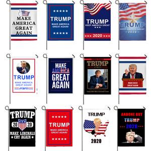 bandiere Trump 45 * 30cm su due lati da giardino Bandiere Presidente elezioni generali Banner Trump bandierina del poliestere panno di plastica Flagpole Bandiere