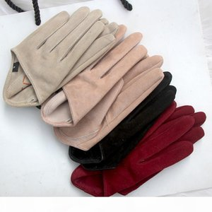 Women's runway fashion natural suede leather gloves half palm gloves female performance dancing party genuine leather glove