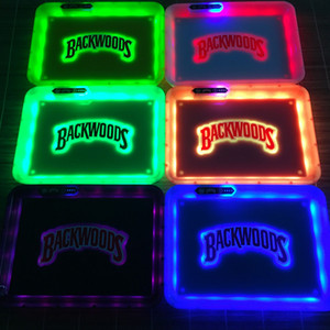 Rechargeable LED Glow tray for smoking accessories tobacco rolling trays with handbag 28cm cigarette box portable gift quick charge free DHL