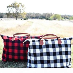 Buffalo Check Handbag Red Black Plaid Bags Large Capacity Travel Tote with PU Handle Sports Yoga Totes Storage Maternity Bags 10pcs