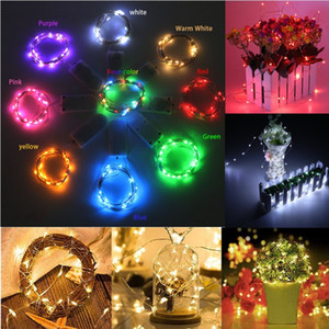 1M 2M 3M 5M LED Kupferdraht-Schnur-Licht 2 * CR2032 batteriebetriebene Weihnachtshochzeitsfest Ramadan Dekoration Licht